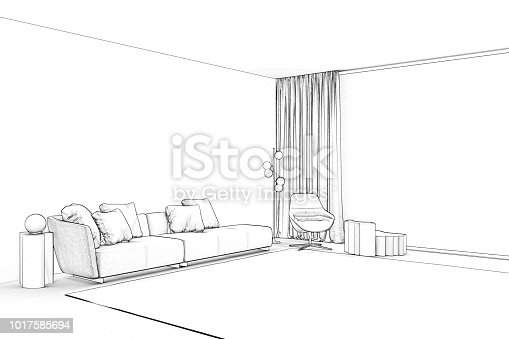 820899008 istock photo Sketch of living room with panoramic window 1017585694