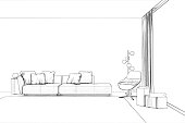 3d render. Sketch of living room with panoramic window