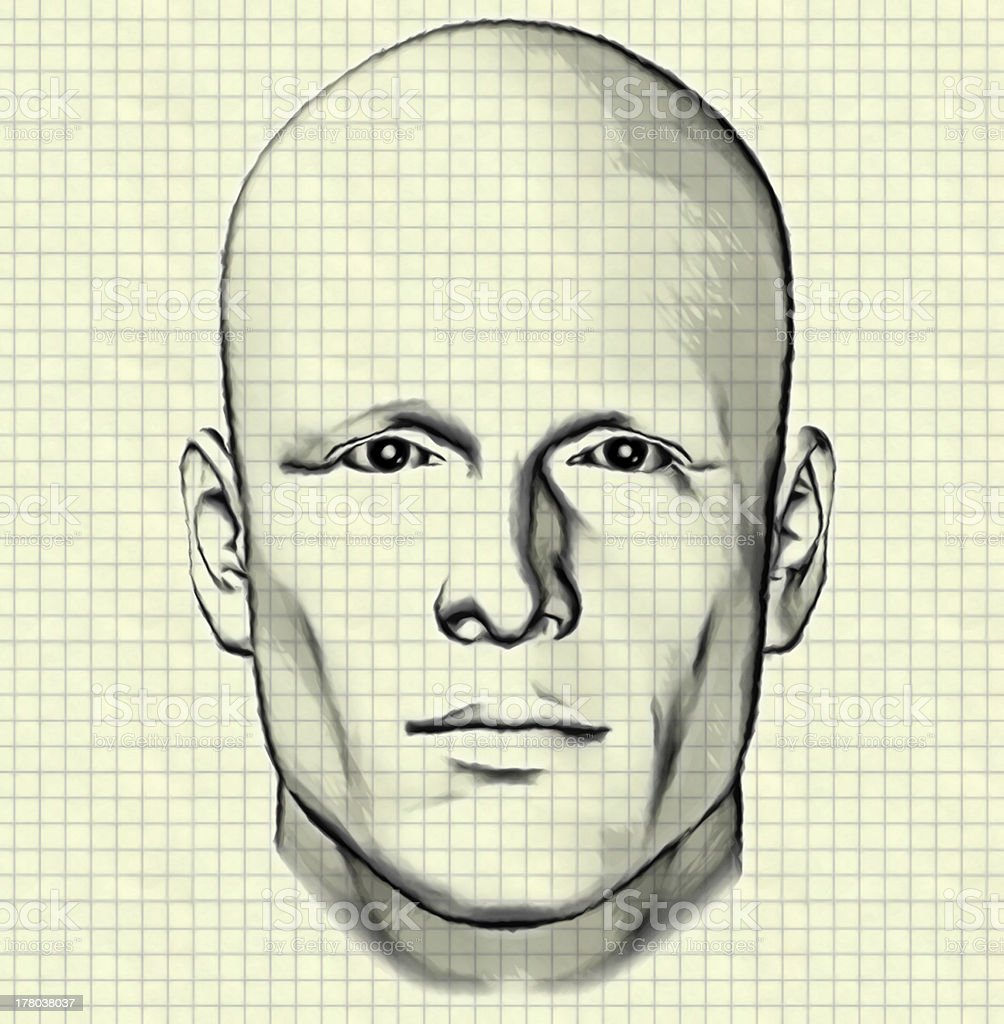 sketch of male figure on graph paper royalty-free stock photo