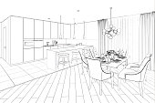 3d illustration. Sketch of modern dining room