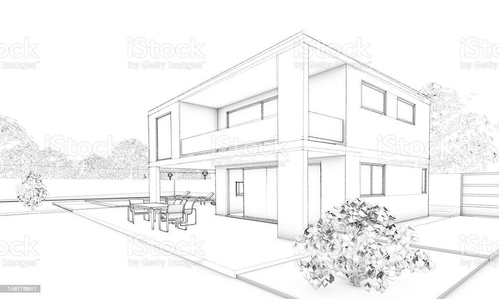 Sketch Of Modern House Villa With Terrace And Garden Stock ...