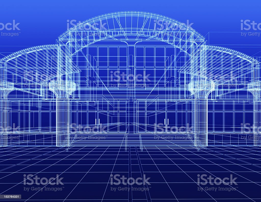sketch of office building royalty-free stock photo