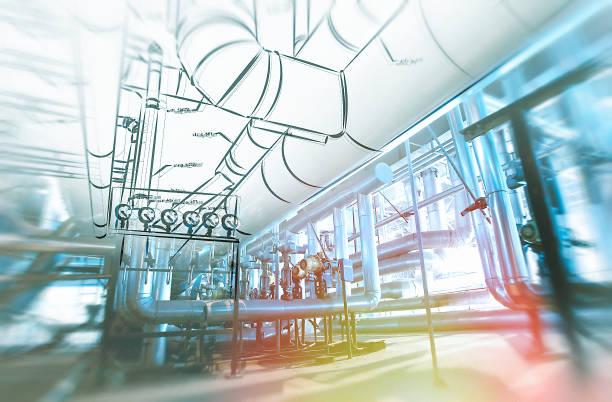 Skizze von Rohrleitungen-Design-Konzept. Durchtrainierten Bild. Motion Blur-Effekt. – Foto