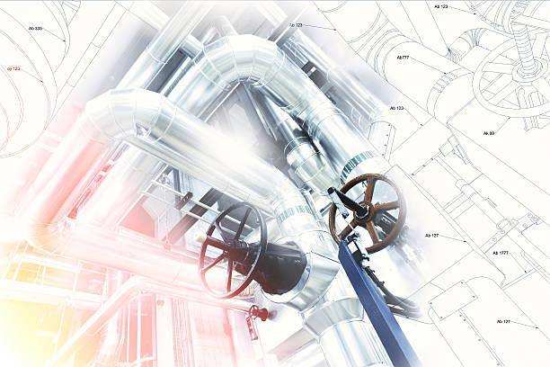 skizze streifen-design kombiniert mit industriegerät foto  - luftventil stock-fotos und bilder
