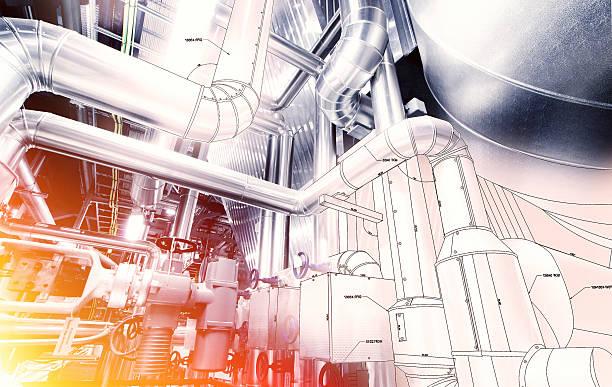 Skizze Streifen-design kombiniert mit Industriegerät Foto  – Foto