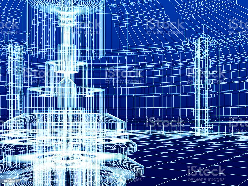 sketch of technology building royalty-free stock photo