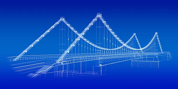 Skizze der Brücke in Blau – Foto