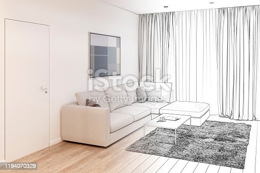 988616560 istock photo Sketch of the living room with sofa, coffee table, picture, door and window became a real interior. 1194070329