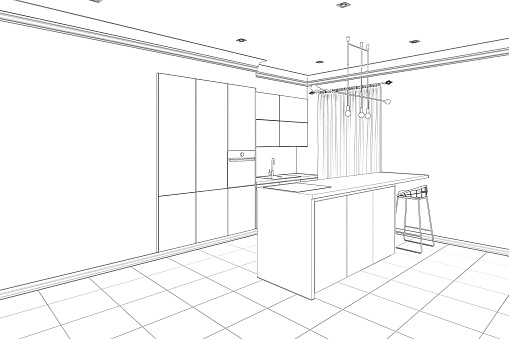 istock Sketch of the modern interior kitchen with breakfast bar and empty wall 1179793375
