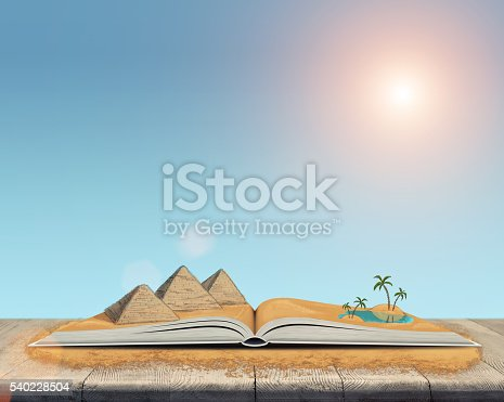istock Sketch of the pyramids and oasis in the desert over 540228504