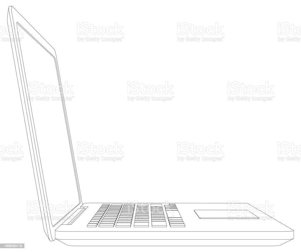 Sketch Of Wireframe Open Laptop Stock Photo & More Pictures of 2015 ...