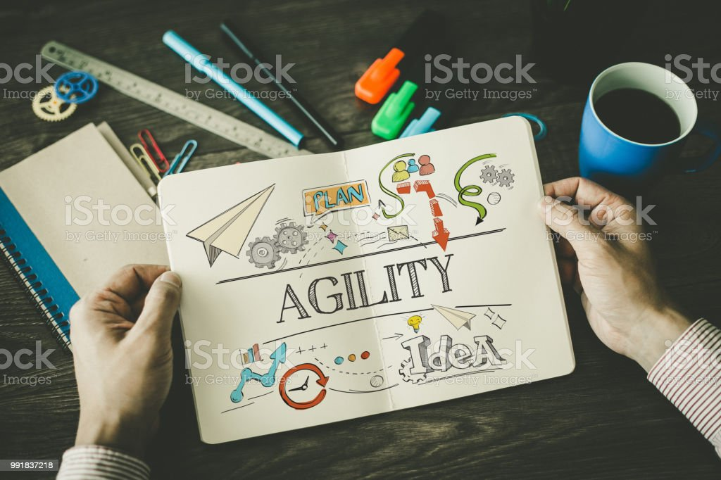 AGILITY sketch on notebook stock photo