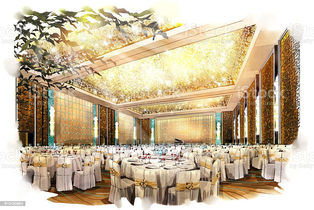 Sketch perspective interior ballroom into a watercolor on for Drawing hall interior