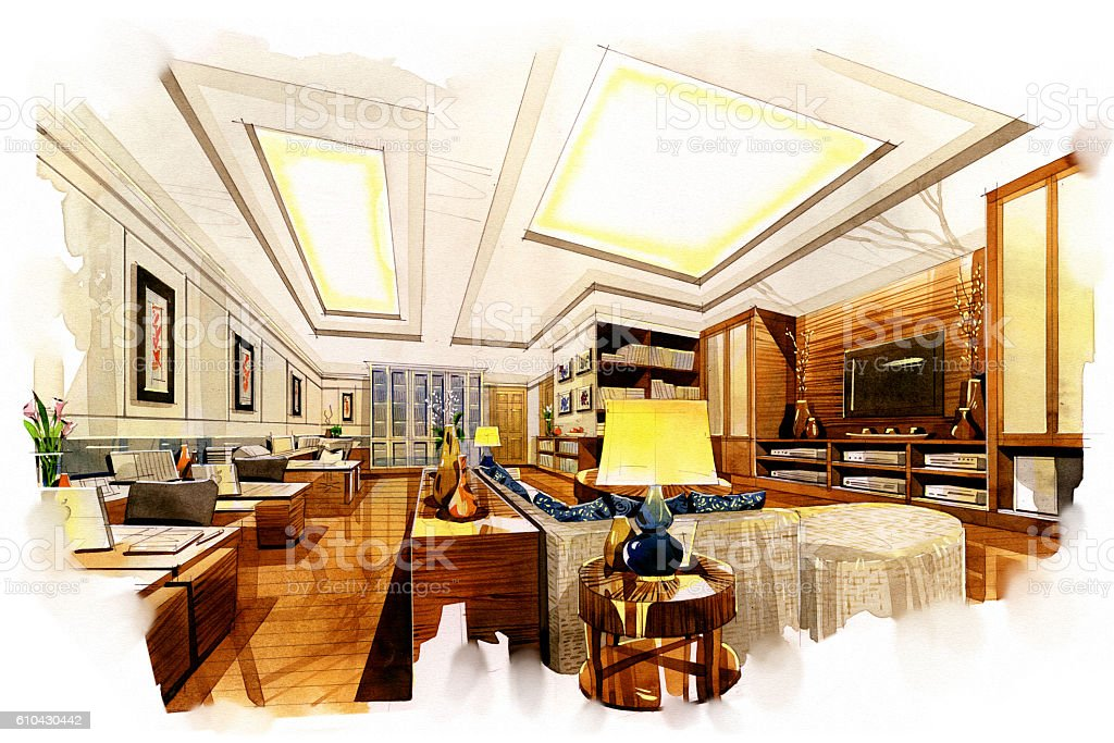 Sketch Perspective Interior Living Office Into A Watercolor On Paper.  Royalty Free Stock Photo