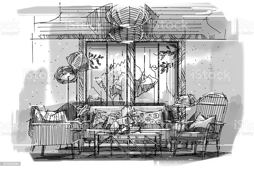 Sketch Perspective Stripes Living Black And White Interior ...