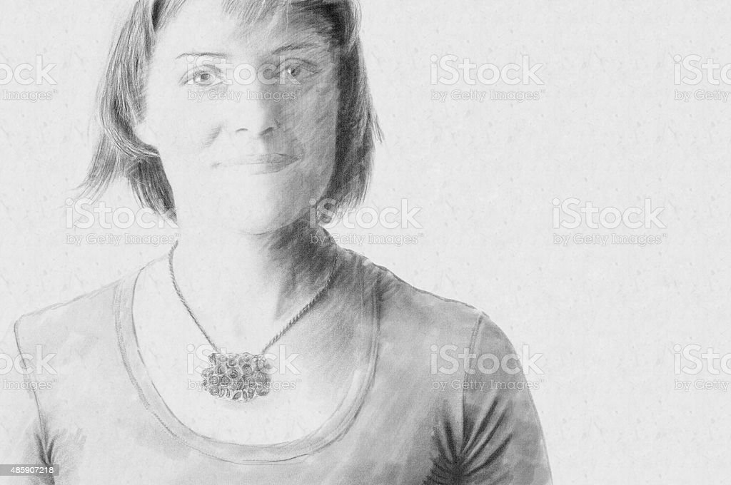 Sketch Portrait of a Woman stock photo