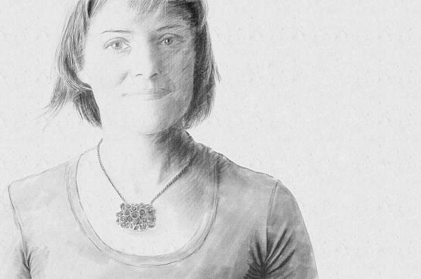 sketch portrait of a woman - pencil drawing stock pictures, royalty-free photos & images