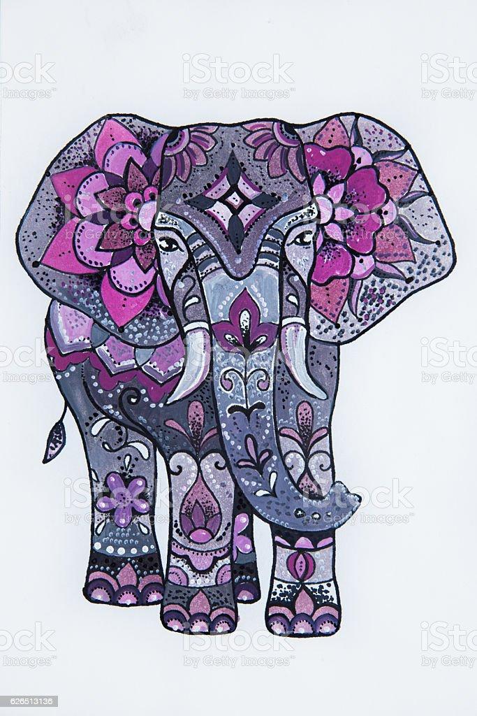Sketch purple elephant with beautiful patterns. stock photo