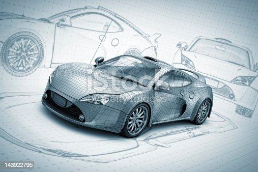 sketch silver supercar.
