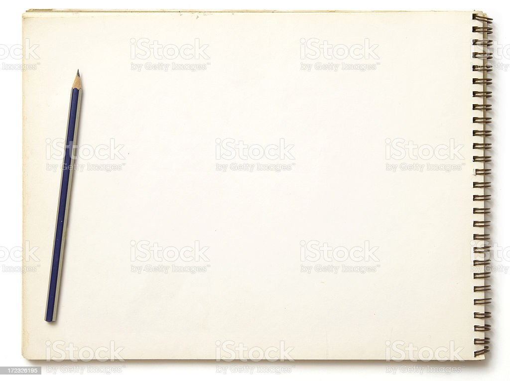 Sketchblock and pencil royalty-free stock photo