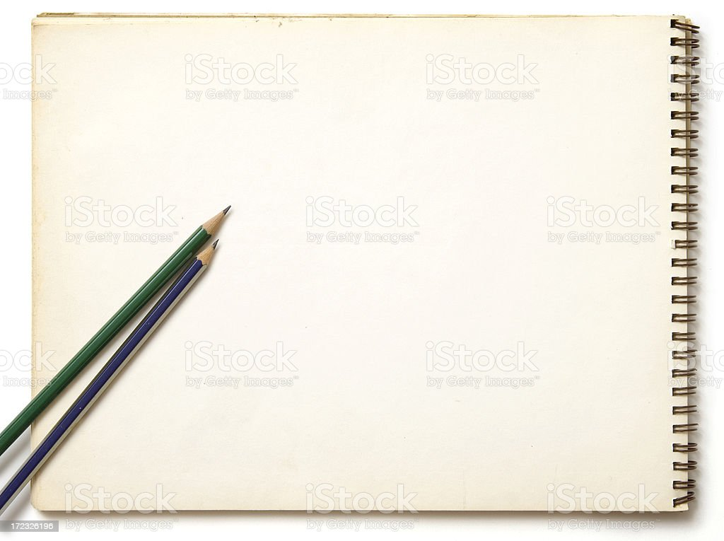 Sketchblock and two pencils royalty-free stock photo