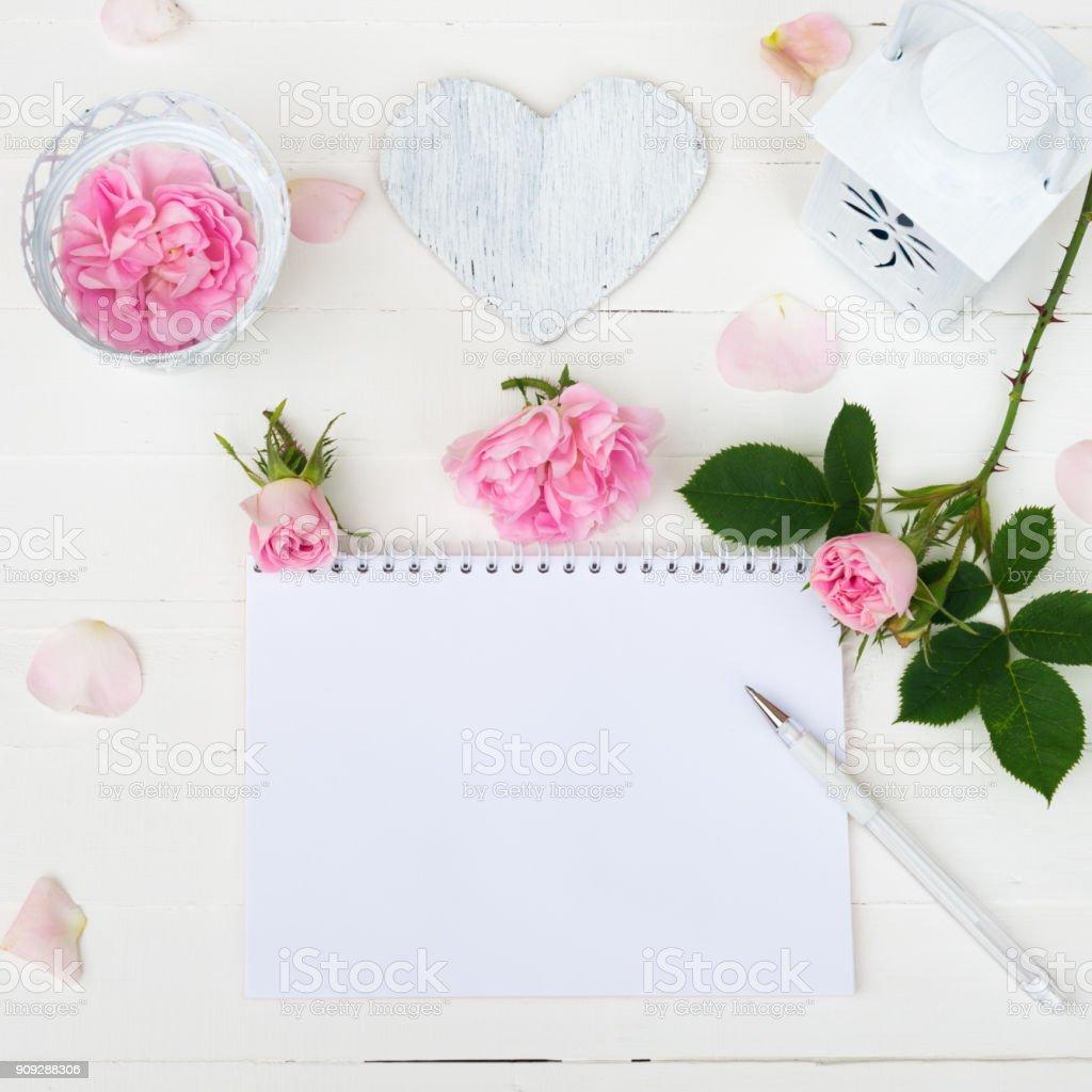 Sketchbook Mock Up Pink Roses Flowers Rose Petals Heart On White