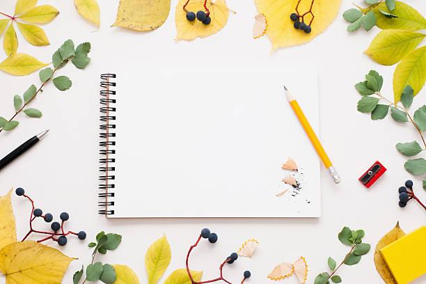 sketchbook with pencil in autumn leaves frame - folha de caderno imagens e fotografias de stock