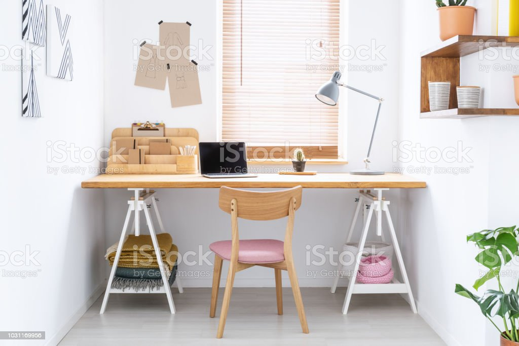 Sketchbooks And An Open Laptop On A Wooden Desk In A White Home Office Interior Of A Fashion Designer Real Photo Stock Photo Download Image Now Istock