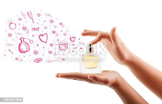 istock sketches coming out from beautiful perfume bottle 1084847906