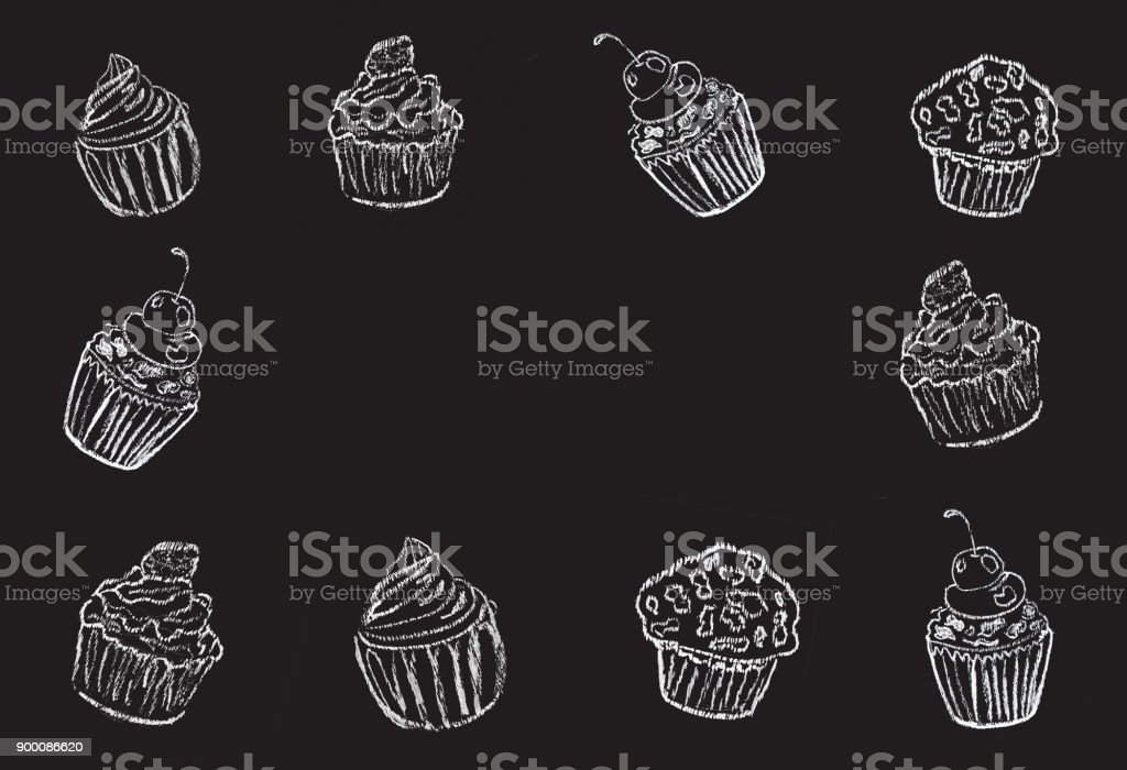 Sketches of cake, cup cake hand-drawn with chalks on blackboard. stock photo