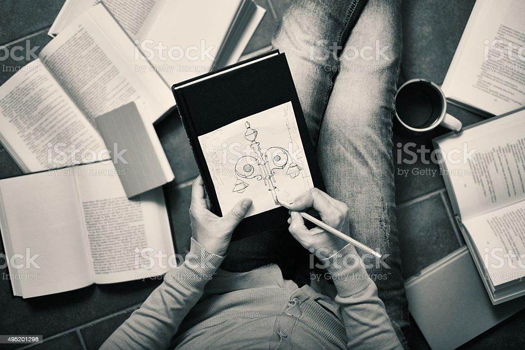 Sketching and drawing at home royalty-free stock photo