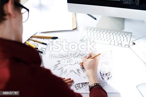 istock Sketching comic strip 488437787