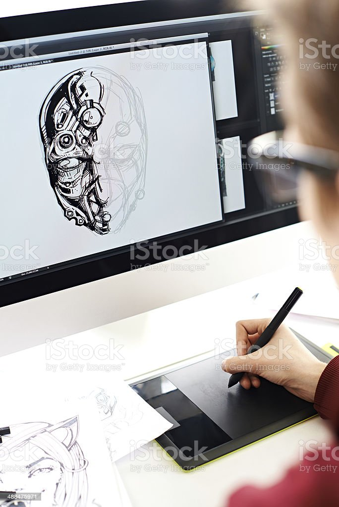 Sketching cyborg stock photo