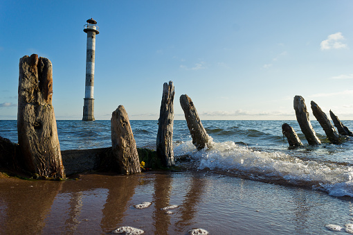 Skew lighthouse in the Baltic Sea. Kiipsaar, Harilaid, Saaremaa, Estonia, Europe.