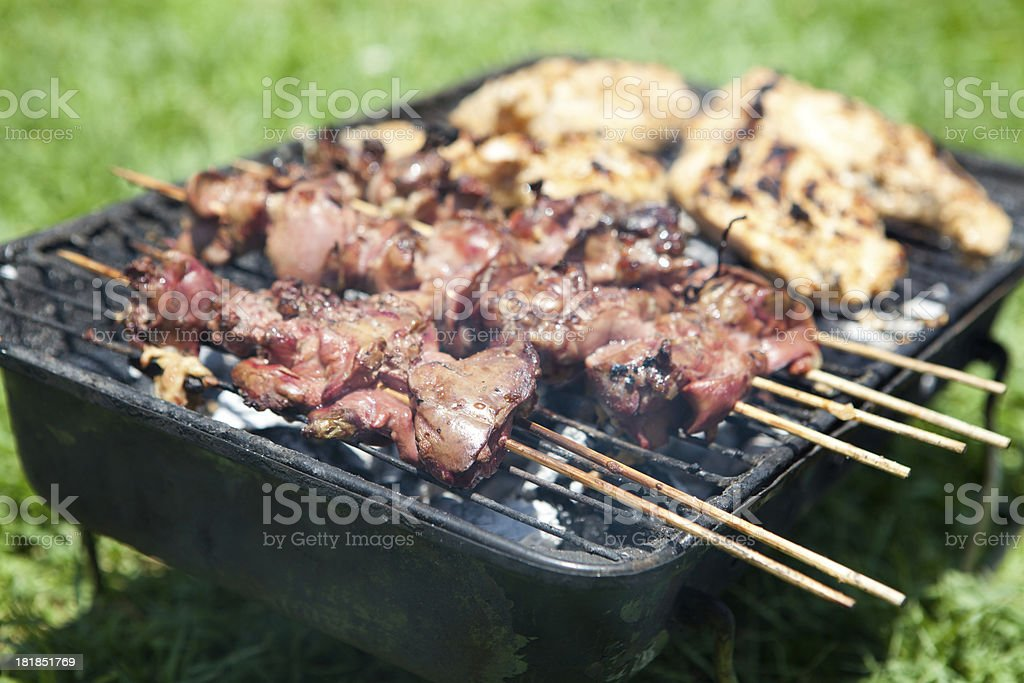 Skewer and meat on a grill royalty-free stock photo