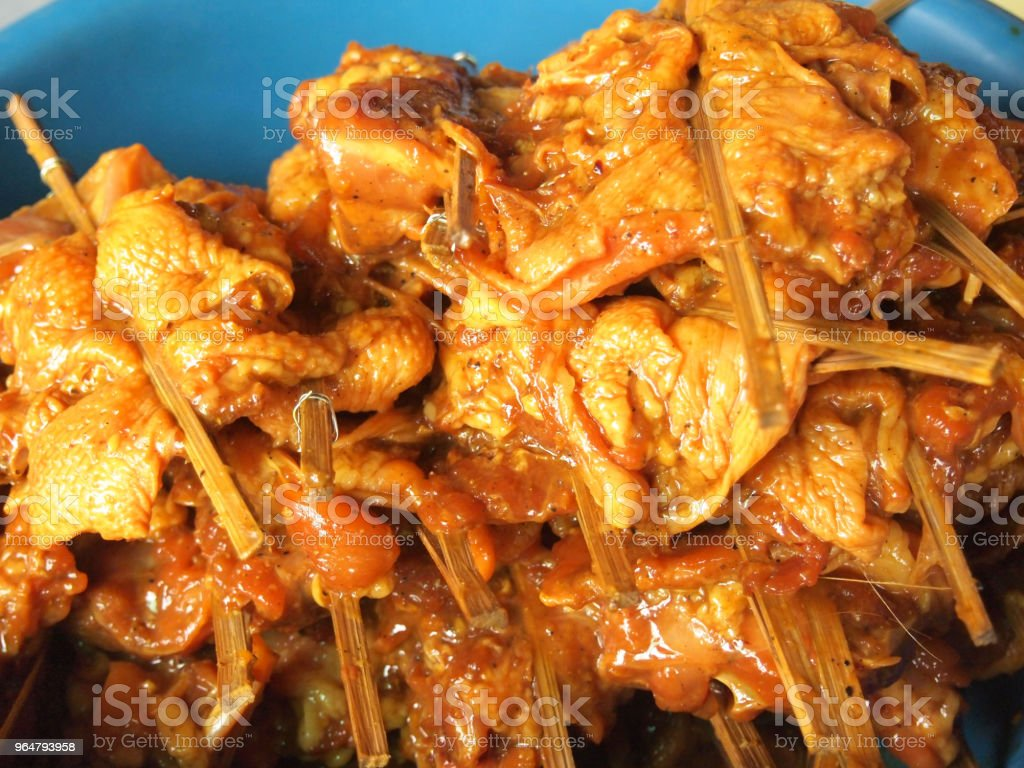 Skewer chicken pieces royalty-free stock photo