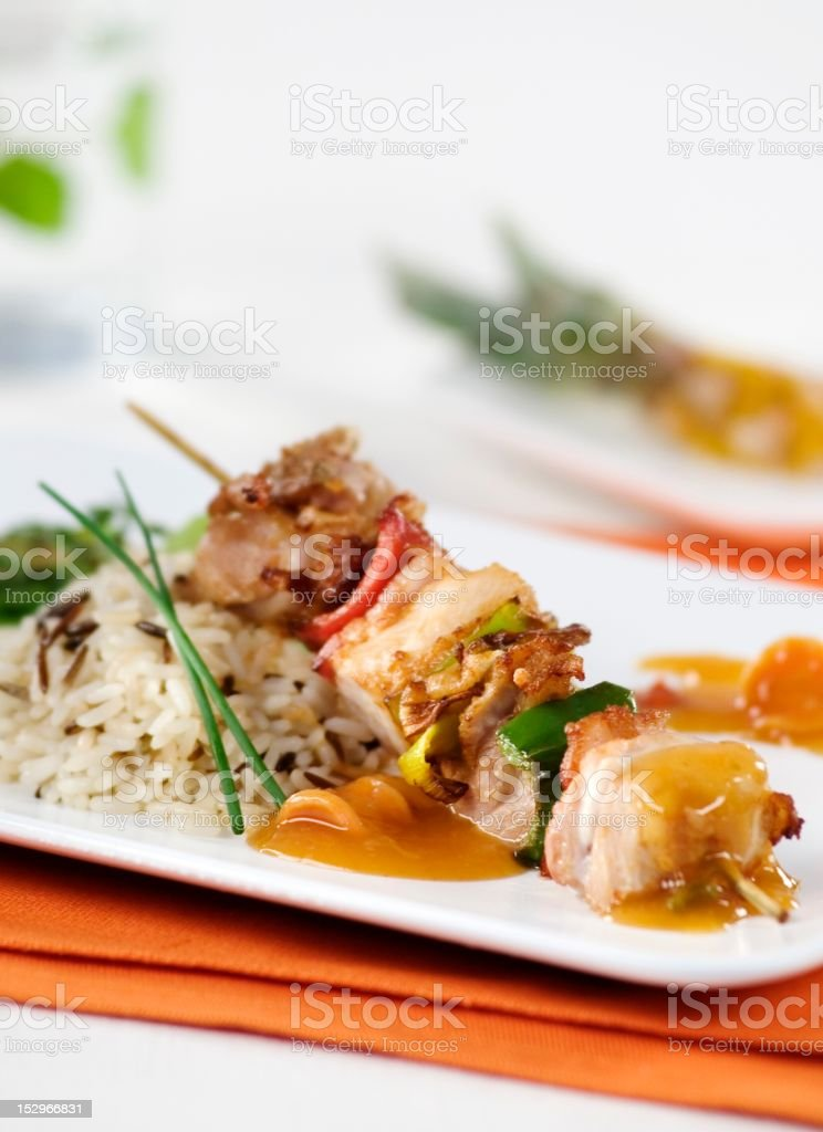 Skewer with white rice royalty-free stock photo