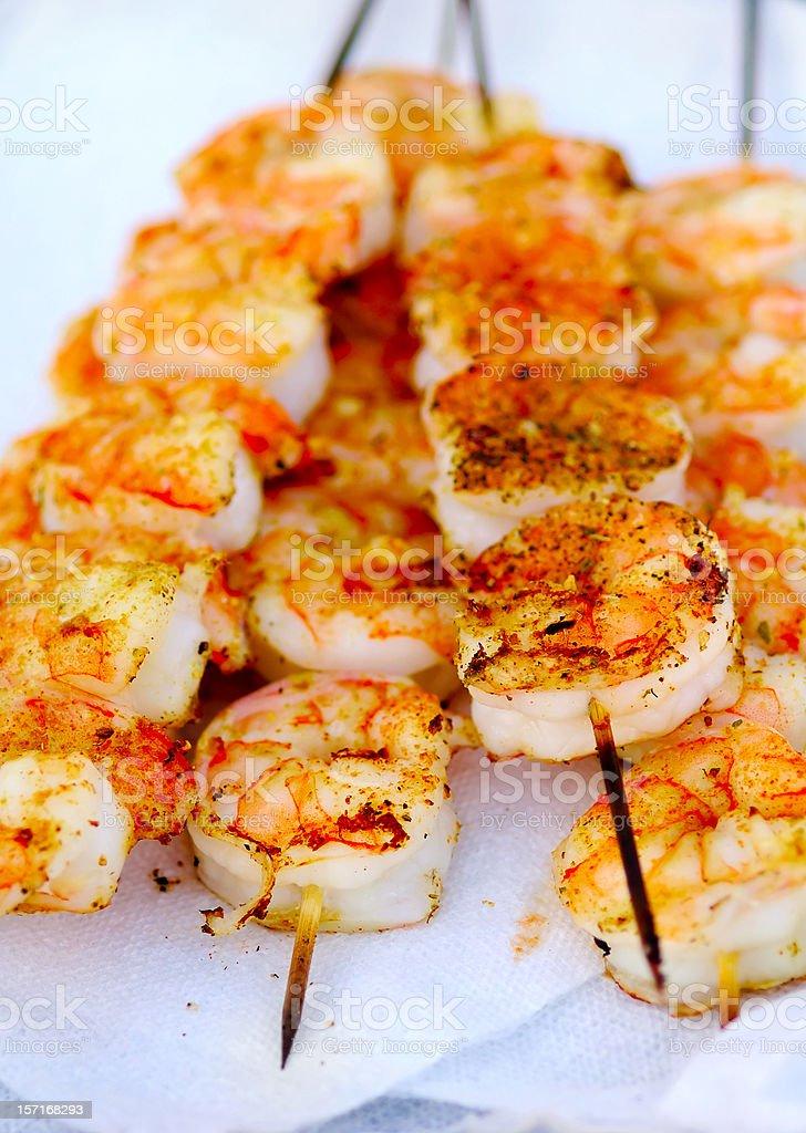 skewered jumbo shrimps royalty-free stock photo