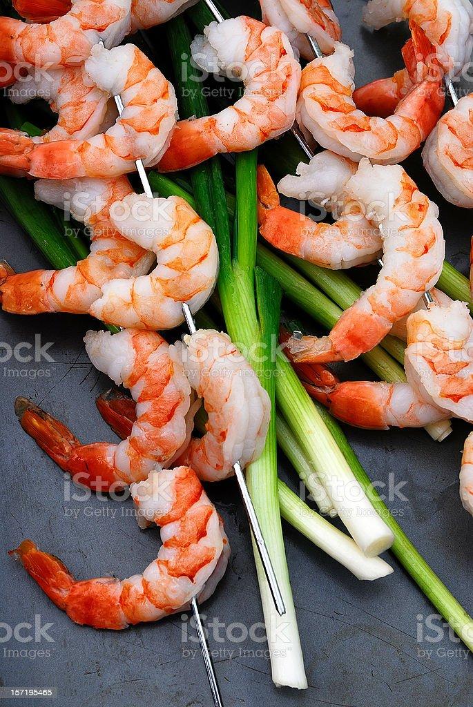 skewered shrimp royalty-free stock photo