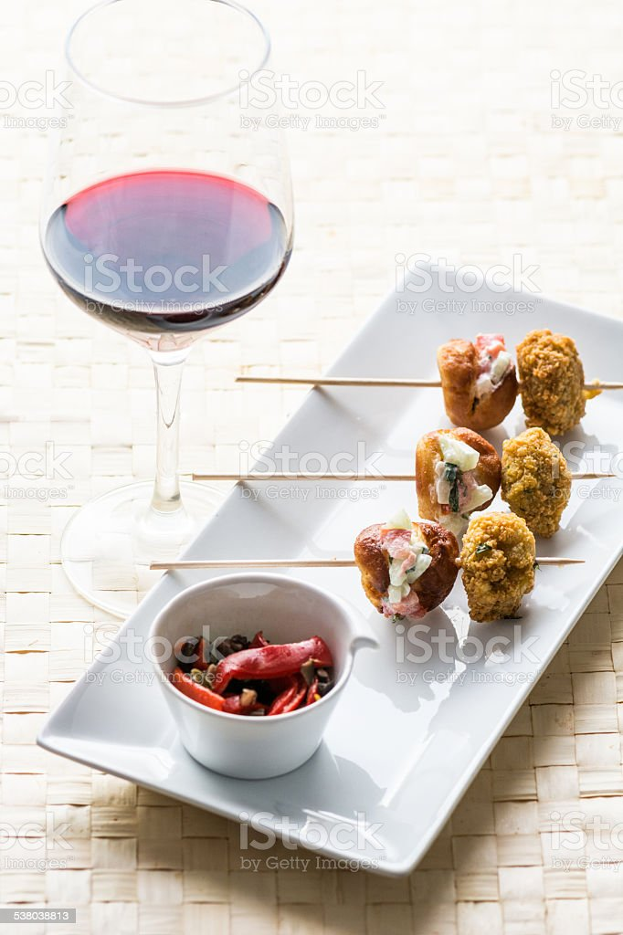 skewers and wineglass stock photo