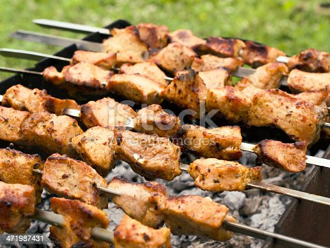 istock skewers of fried chicken on the grill 471987431
