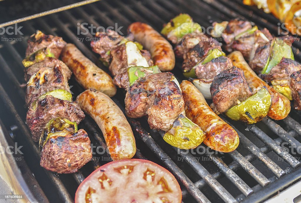 Skewers on the grill royalty-free stock photo
