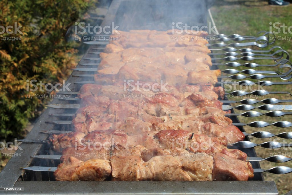 Skewers with meat on the barbecue grill royalty-free stock photo