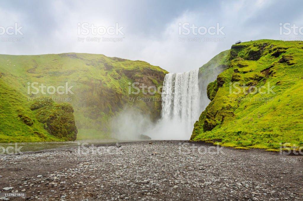 Skógafoss Waterfall Iceland stock photo