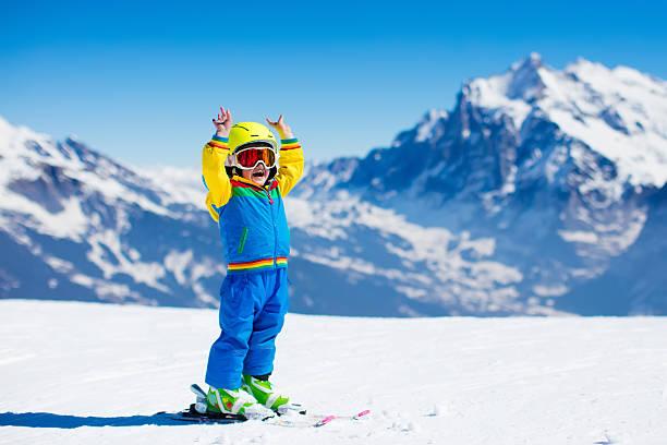 ski and snow fun for child in winter mountains - winter austria train bildbanksfoton och bilder