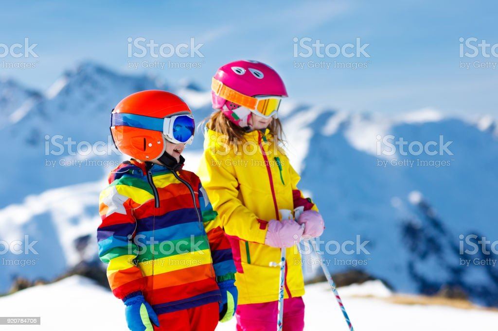 ac0aaa3db520 Ski And Snow Winter Fun For Kids Children Skiing Stock Photo   More ...