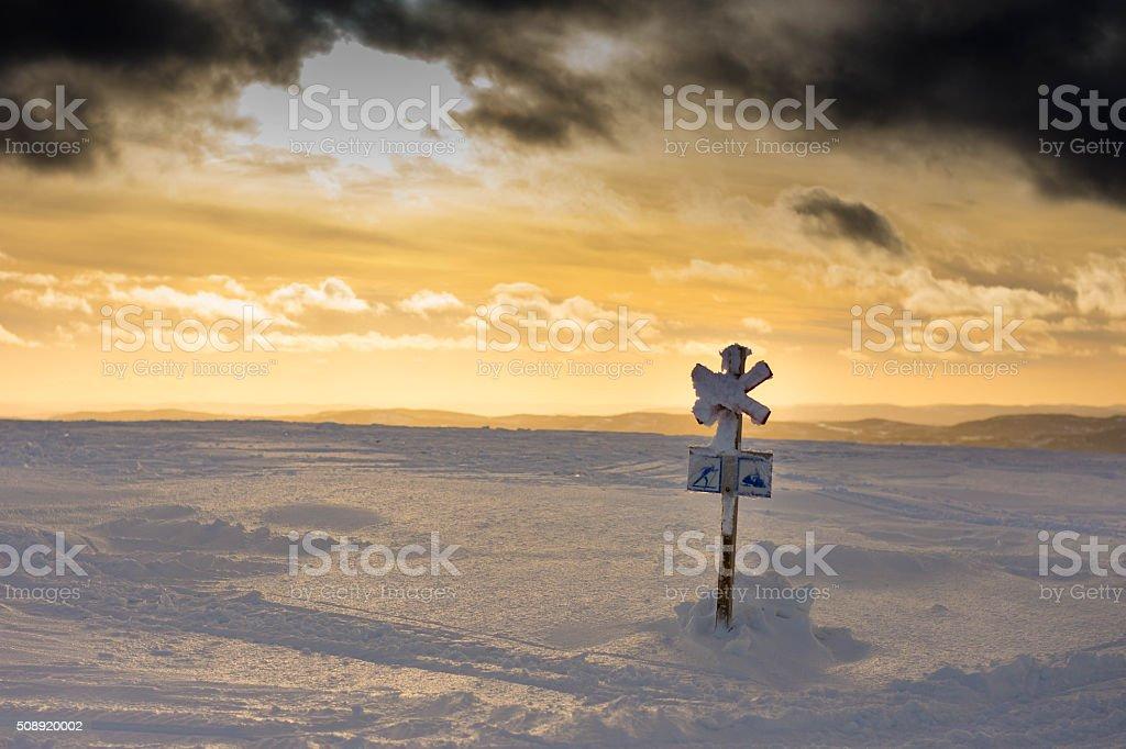 Ski and Snowmobile Track stock photo