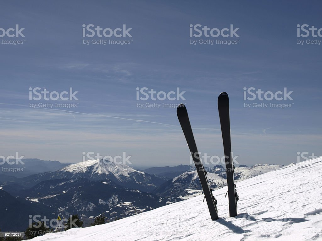 ski and winter with snow in Alps royalty-free stock photo