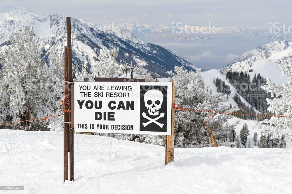 Ski Area Backcountry Access Gate stock photo