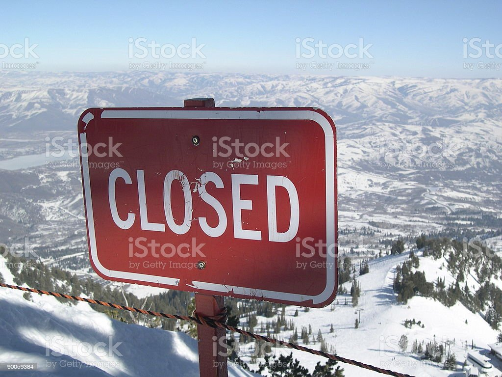 Ski area closed sign royalty-free stock photo